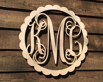 Single Letter Personalized Large 24 inch Unpaintied Scalloped Wooden Monogram - Wood Letters - Nursery Decor - Door Hangings - Bedroom