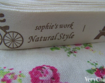 5.46 Yards (5 meters) Natural Style French Country Style Print Cotton Ribbon Label String A2651