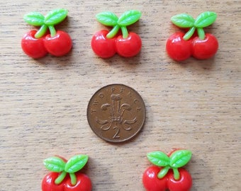 Set of 5 resin flatback cherries