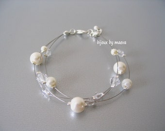 Bracelet fancy bridal jewelry wedding pearl pearlescent ivory and transparent crystal