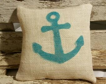 """Anchor Burlap Stuffed Pillow Beach Blue Nautical Summer Pillow 8"""" x 8"""" Beach House Pillow"""