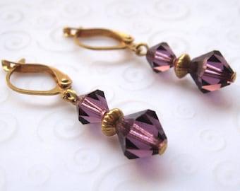 Amethyst Crystal Earrings, Small Drop Earrings with Swarovski Crystal Elements in Amethyst Purple, Everyday Crystal Fashion Jewelry