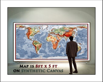 Huge map wall art etsy huge world map detailed map of the world up to 8feet x 5feet wall map with grommets gumiabroncs Gallery