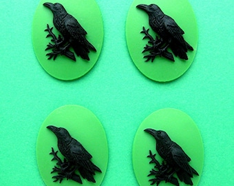 4 Black on Poison Goblin Green Crow Raven Blackbird Black Bird Witch Wiccan Voodoo Goth Emo 40mm x 30mm Resin CAMEOS LOT for Costume Jewelry