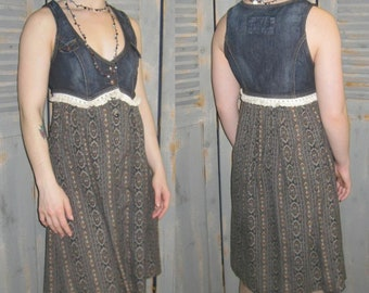 Upcycled Sleeveless Dress with Fringes, Guess Vest, Silk Skirt, Bohemian, Gypsy, Boho Chic