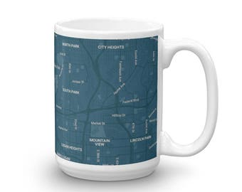 cup with the map of San Diego, California
