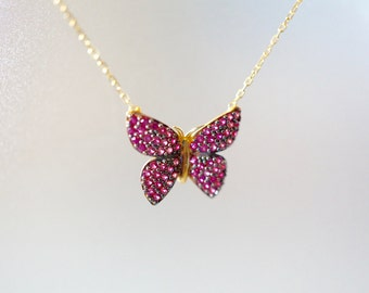 Butterfly Pendant Necklace, Rose Gold Plated Sterling Silver Pink Pavè Stones