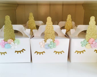 Unicorn party boxes bags favours children's party handmade