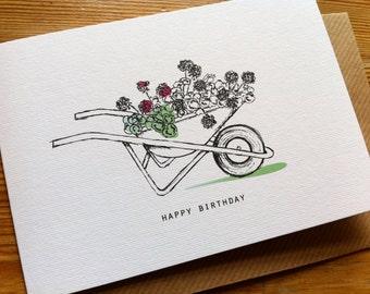 SUMMER WHEELBARROW Birthday Card