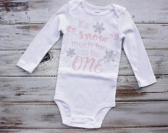 First Birthday Snowflake Outfit- Snow Much Fun to be One- Snowflake Birthday- Personalized- First Birthday- 1st Birthday- Winter Wonderland