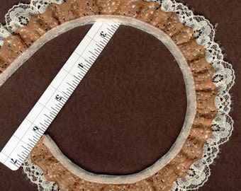 Double gathered lace trim Cream and Brown 12yds (XD159)