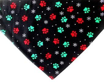 Paw prints and snowflakes dog bandana - holiday red and green dog scarf - Christmas pet bandana