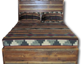 Reclaimed Barnwood Platform Bed with Drawers