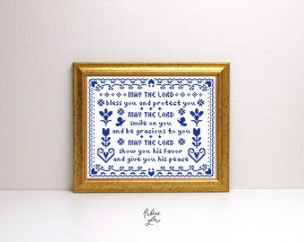Aaronic Blessing Cross Stitch Pattern - Priestly Blessing - Numbers 6 Bible - Monochrome Cross Stitch - Instant Download - Vintage Sampler -