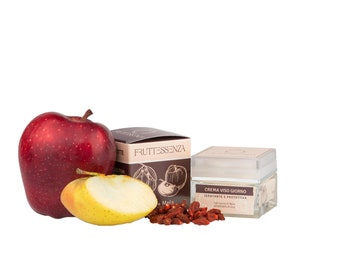 Moisturizing and protective day face cream with apple juice and Goji