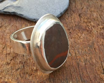 Beach Stone Pebble Ring, Sterling Silver, Ring Size N UK, Size  6.75 US, Nature Gift for Women, Rustic Hygge , Gift For Her, Christmas Gift