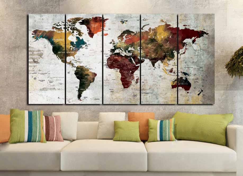 world map artworld map canvaslarge world mapworld map wall artabstract world mapabstract map artwatercolor world mapwatercolor map