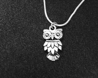 owl necklace, Owl Jewelry, Bird Necklace, Bird