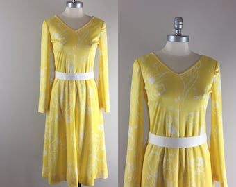 1970s Vintage Dress l 70s Yellow and White Floral Print Dress