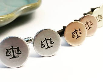 Scales of Justice ~ Cuff links ~ Lawyer Gift ~ Law School Graduation ~ Judge ~ Equality ~ Justice ~ Custom Hand Stamped Gift for him