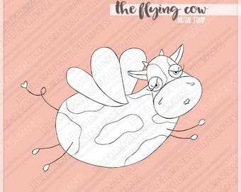 Cow Digital Stamp-Flying Cow Digi Stamp-Kids Coloring Page-Cow Clipart-Farm Animals-Digital Image-Line Art-Digi Download-Instant Download