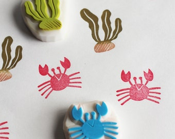 summer beach stamp set | crab & seaweed rubber stamp | diy birthday scrapbooking | gift wrapping | hand carved by talktothesun | set of 2