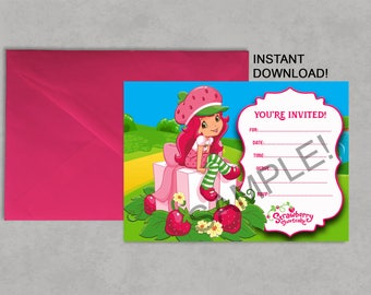 Strawberry Shortcake Inspired Printable Birthday Invitation DIY Blank Fill it in yourself INSTANT DOWNLOAD Jpeg Pdf No waiting! 5X7