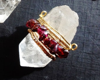 Raw Quartz Crystal Necklace Natural Uncut Gemstone Hand Wrapped With Wire and Crystal or Gemstone Beads by Phenomena Jewelry