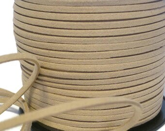 Tan Faux Suede Cord 3mm, Beige Micro Fiber Vegan Leather Lace, Light Khaki Beading Lace, Jewelry Making Cord, Braided Headband Making