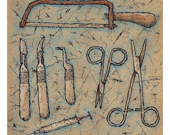 Art Print // SURGICAL INSTRUMENTS - Ink & Colored Pencils