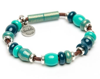 SALE | Color of the Month | Deluxe Teal Bead Leather Magnetic Landella Bracelet
