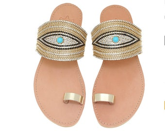 Sandals,Shoes,Leather Sandals,Toe Ring,Handmade Sandals,Evil Eye,Summer Shoes,Leather Sandals,Greek Sandals,