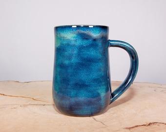 Blue and Green Handmade Pottery Coffee Mug