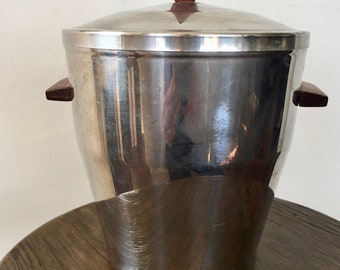 Vintage MID-CENTURY ICE Bucket, Stainless Steel Irvinware Ice Bucket, Atomic Style Mad Men Decor