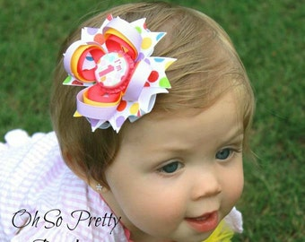 Birthday Hair Bow - 1st 2nd 3rd 4th 5th Birthday Hair Bow - Polka Dot Hair Bow - Lavender Yellow Pink Hair Bow - YOU PICK BOTTLECAP