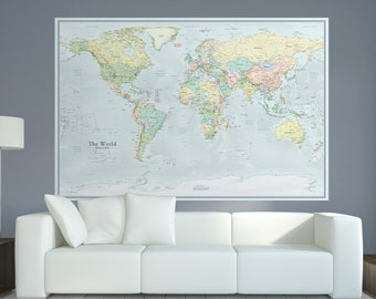 Modern world map etsy extra large modern world map 44x66 huge world map home gumiabroncs Image collections