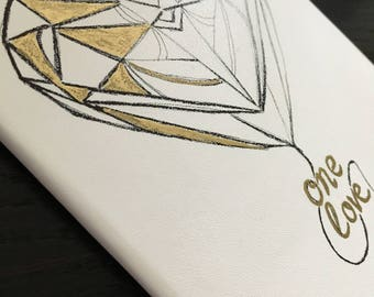 Custom Moleskine Sketchbook Design White Gold Pocket Size Small Plain Page Notebook, Journal, Geometric Heart Artwork