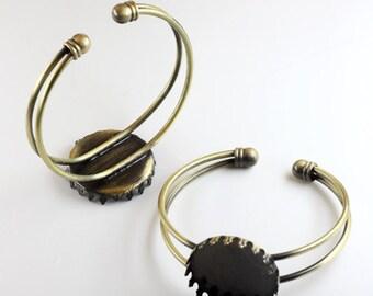 10pcs 25mm 1 inch round setting Blank Bracelet Cuff, bracelet blanks, Bezel Bracelet Blank, Bracelet Tray, Bezel Cuff (3010406)