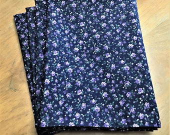 Napkins, Purple Flowers on Dark Blue Background Reusable Cloth Napkins Set of 4 Double Sided 100% Cotton Eco Friendly Large 20 x 20