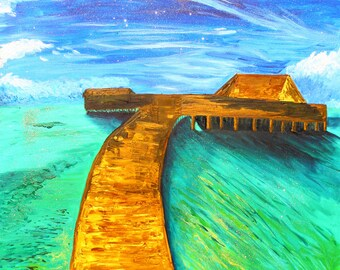 Large Bora Bora oil on canvas painting