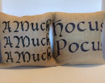 BURLAP Hocus Pocus AMuck AMuck AMuck Pillow Covers each