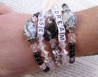 Boho gypsy beaded stretch bracelet set, DREAM, MUSE