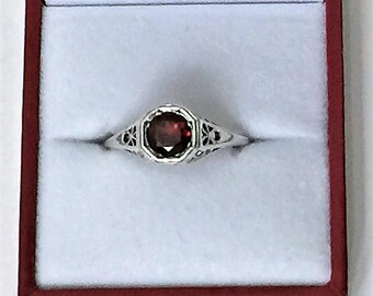 Vintage Sterling Silver Gemstone Amtique Style Solitaire Ring, 1.25 carats - 7mm African Red Garnet, Scroll Work, Size 7 1/2