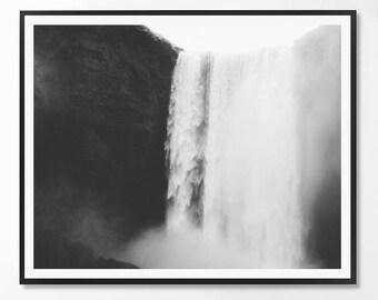 Landcape Print, Black and White Photography, Minimal photo, Minimalist, Waterfall, Landscape Photo, Landcape, Scandinavian Printable Art