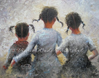 Three Sisters Art Print, three african american girls, girls of color wall art, pigtails, girls room art, daughters art, Vickie Wade art