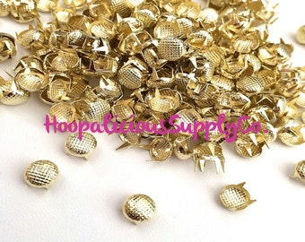 100 pcs-7mm Grid Metal Prong Studs. Choose Silver,Gun Metal,Gold,or Brass.DIY Clothing-Fast Shipping from USA w/ Tracking 4 Domestic Orders