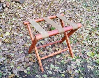 Vintage Wood Luggage Rack Rustic wood Suitcase Stand