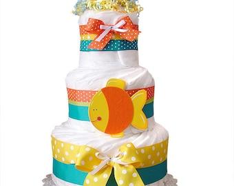 Fish Diaper Cake, Duck Fish shower Centerpiece, Fish  Baby Cake, Fish Baby Shower