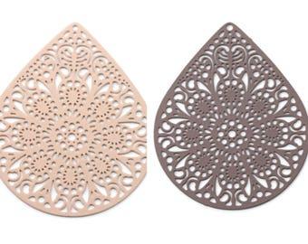 2, 5 or 10 print / pendant filigree (filigree) large Teardrop style mandala, ethnic 39 x 49 mm (Brown or beige) - Ref: 522 / 520