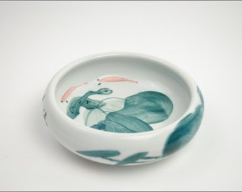 Free Shipping Chinese Calligraphy Material  17.5x5cm Hand Painted Porcelain Water Bowl Brush Washing Bowl - Lotus -  0009